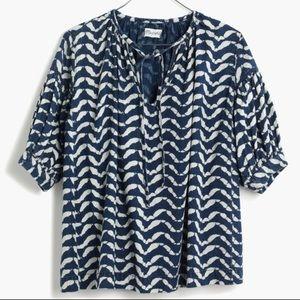 Madewell indigo, peasant top in Batik Wave XS